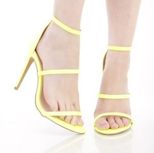Shoes - 🆕️Neon Yellow Strappy Faux Leather Single Sole He